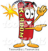 Vector Illustration of a Dynamite Stick Mascot Waving and Pointing by Toons4Biz