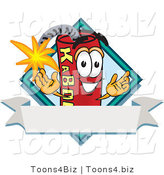 Vector Illustration of a Dynamite Stick Mascot with a Blank Ribbon Label by Toons4Biz