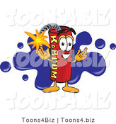 Vector Illustration of a Dynamite Stick Mascot with a Blue Paint Splatter by Toons4Biz