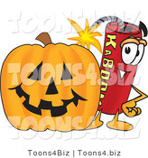 Vector Illustration of a Dynamite Stick Mascot with a Halloween Pumpkin by Toons4Biz