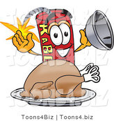 Vector Illustration of a Dynamite Stick Mascot with a Thanksgiving Turkey on a Platter by Toons4Biz