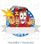 Vector Illustration of a Dynamite Stick Mascot with Stars and a Blank Ribbon Label by Toons4Biz