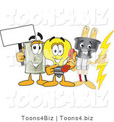 Vector Illustration of a Electric Plug Mascot with a Light Bulb and Electrical Switch by Toons4Biz