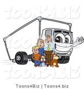 Vector Illustration of a Family Standing by a Waving Cartoon Delivery Truck Mascot by Toons4Biz