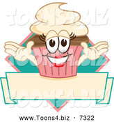 Vector Illustration of a Female Cupcake and Banner over a Diamond by Toons4Biz