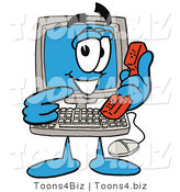Vector Illustration of a Friendly Computer Guy Pointing to a Red Phone by Toons4Biz