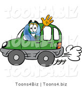 Vector Illustration of a Globe Mascot Driving a Blue Car and WavingGlobe Driving a Blue Car and WavingGlobe Mascot Driving a Blue Car and Waving by Toons4Biz