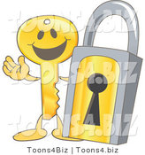 Vector Illustration of a Gold Cartoon Key Mascot by a Padlock by Toons4Biz