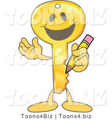 Vector Illustration of a Gold Cartoon Key Mascot Holding a Pencil by Toons4Biz