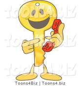Vector Illustration of a Gold Cartoon Key Mascot Pointing to a Phone by Toons4Biz