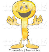 Vector Illustration of a Gold Cartoon Key Mascot Smiling by Toons4Biz