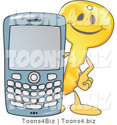 Vector Illustration of a Gold Cartoon Key Mascot with a Cell Phone by Toons4Biz