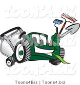 Vector Illustration of a Green Cartoon Lawn Mower Mascot Carrying Garden Tools by Toons4Biz