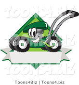 Vector Illustration of a Green Cartoon Lawn Mower Mascot Chewing Grass on a Blank Ribbon Label by Toons4Biz