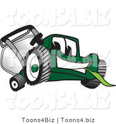 Vector Illustration of a Green Cartoon Lawn Mower Mascot Facing Front and Eating Grass by Toons4Biz