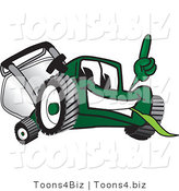 Vector Illustration of a Green Cartoon Lawn Mower Mascot Facing Front and Pointing up by Toons4Biz