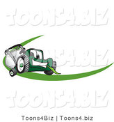 Vector Illustration of a Green Cartoon Lawn Mower Mascot Facing Front on a Logo or Nametag with a Green Dash by Toons4Biz