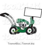 Vector Illustration of a Green Cartoon Lawn Mower Mascot Holding a Blank Sign by Toons4Biz