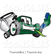 Vector Illustration of a Green Cartoon Lawn Mower Mascot Holding out a Blue Telephone by Toons4Biz