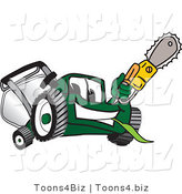Vector Illustration of a Green Cartoon Lawn Mower Mascot Holding up a Saw by Toons4Biz