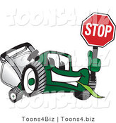 Vector Illustration of a Green Cartoon Lawn Mower Mascot Holding up a Stop Sign by Toons4Biz