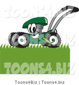Vector Illustration of a Green Cartoon Lawn Mower Mascot Mowing Grass by Toons4Biz