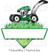 Vector Illustration of a Green Cartoon Lawn Mower Mascot Mowing Grass over a Blank White Label by Toons4Biz