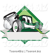 Vector Illustration of a Green Cartoon Lawn Mower Mascot on a Blank Label by Toons4Biz