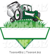 Vector Illustration of a Green Cartoon Lawn Mower Mascot on a Logo by Toons4Biz