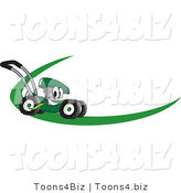 Vector Illustration of a Green Cartoon Lawn Mower Mascot on a Logo or Nametag with a Green Dash by Toons4Biz