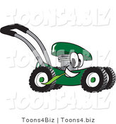 Vector Illustration of a Green Cartoon Lawn Mower Mascot Passing by and Eating Grass by Toons4Biz