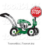 Vector Illustration of a Green Cartoon Lawn Mower Mascot Passing by and Holding a Stop Sign by Toons4Biz