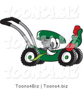 Vector Illustration of a Green Cartoon Lawn Mower Mascot Passing by and Holding out a Red Telephone by Toons4Biz