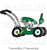 Vector Illustration of a Green Cartoon Lawn Mower Mascot Passing by and Pointing Upwards by Toons4Biz
