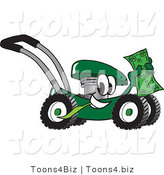 Vector Illustration of a Green Cartoon Lawn Mower Mascot Passing by and Waving a Dollar Bill by Toons4Biz