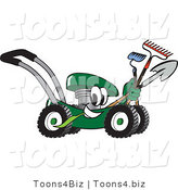 Vector Illustration of a Green Cartoon Lawn Mower Mascot Passing by While Carrying Garden Tools by Toons4Biz