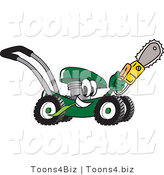 Vector Illustration of a Green Cartoon Lawn Mower Mascot Passing by with a Saw by Toons4Biz