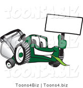 Vector Illustration of a Green Cartoon Lawn Mower Mascot Waving a Blank Sign by Toons4Biz