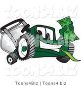 Vector Illustration of a Green Cartoon Lawn Mower Mascot Waving a Dollar Bill by Toons4Biz