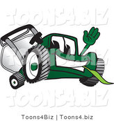 Vector Illustration of a Green Cartoon Lawn Mower Mascot Waving Hello by Toons4Biz