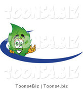 Vector Illustration of a Green Leaf Mascot Logo with a Blue Dash by Toons4Biz
