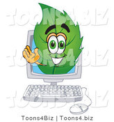 Vector Illustration of a Green Leaf Mascot on a Computer Screen by Toons4Biz