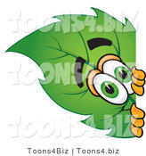 Vector Illustration of a Green Leaf Mascot Peeking Around a Corner by Toons4Biz
