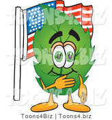 Vector Illustration of a Green Leaf Mascot Pledging Allegiance to an American Flag by Toons4Biz