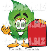 Vector Illustration of a Green Leaf Mascot Red Clearance Sales Price Tag by Toons4Biz