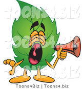 Vector Illustration of a Green Leaf Mascot Screaming into a Megaphone by Toons4Biz