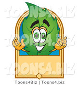 Vector Illustration of a Green Leaf Mascot with a Blank Tan Label by Toons4Biz