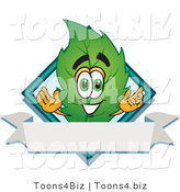 Vector Illustration of a Green Leaf Mascot with a Diamond and Blank Ribbon Label by Toons4Biz