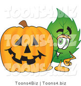 Vector Illustration of a Green Leaf Mascot with a Halloween Pumpkin by Toons4Biz