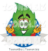 Vector Illustration of a Green Leaf Mascot with Stars and a Blank Label by Toons4Biz